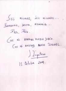 Firma de Zapatero en el libro de visitas de Yad Vashem
