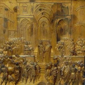 Una+de+las+placas+de+las+puertas+del+baptisterio+de+Florencia+reproduce+el+encuentro+de+la+monarca+etíope+con+el+rey+Salomón