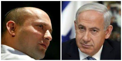 Naftalí Bennett de Hogar Judío y PM Benjamin Netanyahu